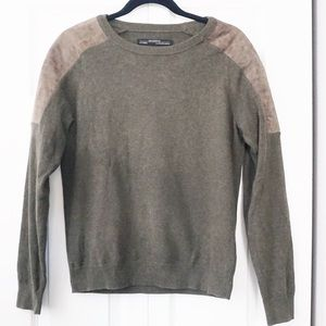All Saints Green Cozy Sweater Brown Leather Panel
